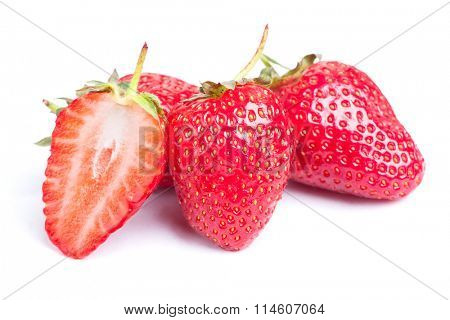 Strawberries isolated on white background