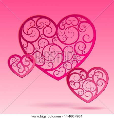 Pink paper decorative hearts  of different sizes suspended in air. Valentine greeting card. Vector illustration