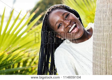Portrait Of Happy African Teen With Braids.