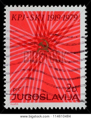 YUGOSLAVIA - CIRCA 1979: A stamp printed by Yugoslavia dedicated to the 60th anniversary of the Communist Party of Yugoslavia, circa 1979.