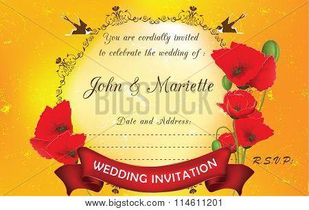 Wedding invitation with poppies