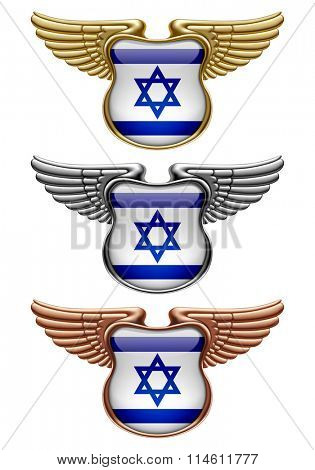 Gold, silver and bronze award signs with wings and Israel state flag