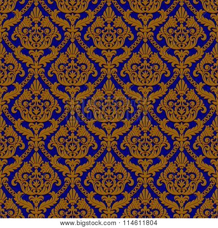 Vintage blue and brown seamless pattern background