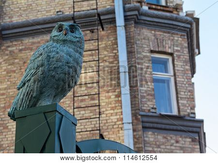 Sculpture Of An Owl In The Street St. Andrew's Descent - The Historic Part Of Kiev. Ukraine