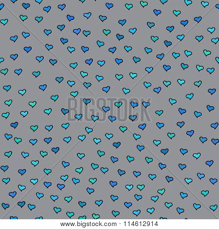 Seamless Pattern. Tiny Blue And Green Hearts. Abstract Repeating. Cute Backdrop. Gray Background.
