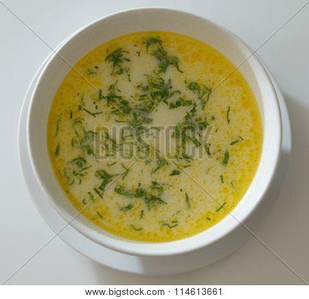 tripe soup in a white bowl