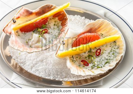 scallops on the party table
