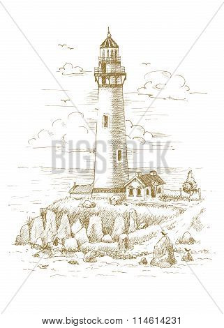 Lighthouse on the coast drawn by hand