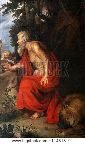 ELLWANGEN, GERMANY - MAY 07: Saint Jerome, Basilica of St. Vitus in Ellwangen, Germany on May 07, 2014.