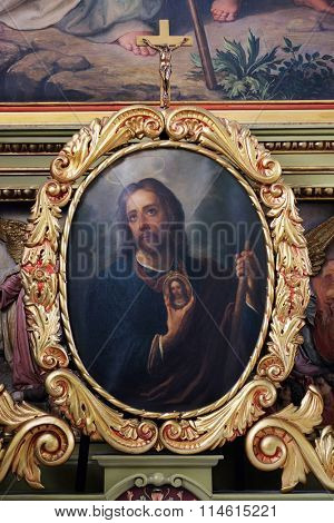 ZAGREB, CROATIA - MAY 28: Saint Jude Thaddeus altarpiiece in the Basilica of the Sacred Heart of Jesus in Zagreb, Croatia on May 28, 2015