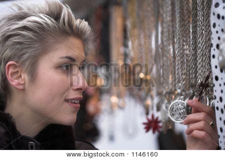 Woman Outdoor Shopping
