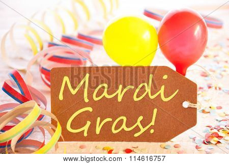 Party Label, Streamer And Balloon, Yellow Text Mardi Gras