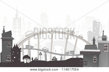 City background. Cars and busy roads