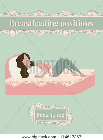 Breastfeed position mother with baby lying on the bed