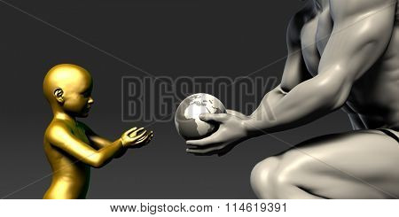 Old Man Giving Earth to a Child as a Conservation Concept