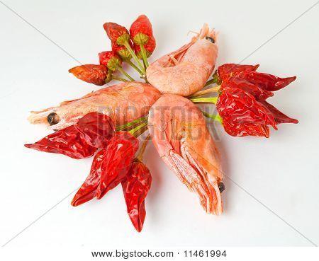 Shrimps and pepper