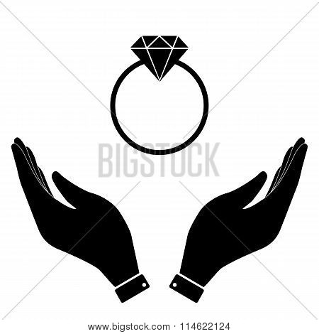 Diamond ring in hand icon