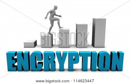 Encryption 3D Concept  in Blue with Bar Chart Graph