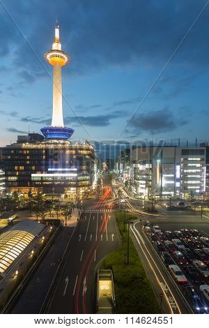 Kyoto Tower Downtown Traffic Lights Dusk Twilight
