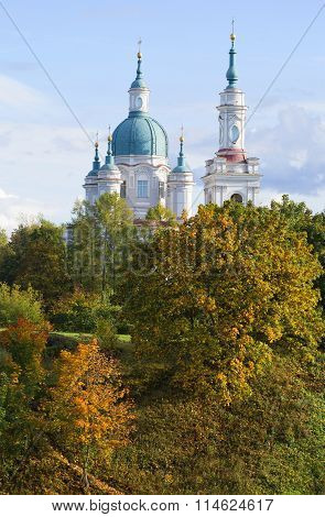 The dome of the Cathedral of St. Catherine the Martyr in the autumn landscape. Kingisepp