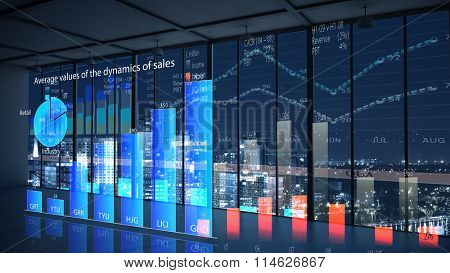 Office interior with graphs and diagrams