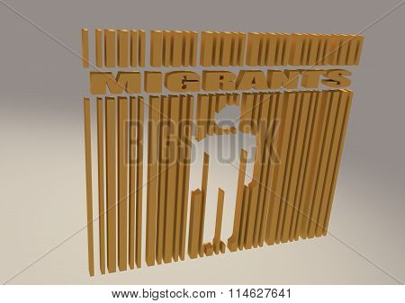 Migrants Word And Human Icon In Bar Code