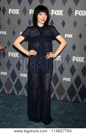 LOS ANGELES - JAN 15:  Carly Rae Jepsen at the FOX Winter TCA 2016 All-Star Party at the Langham Huntington Hotel on January 15, 2016 in Pasadena, CA