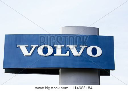 Volvo Automobile Dealership Sign And Logo