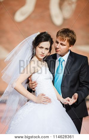The bride and groom standing together posing with strict expression. Wedding photo vertical at sunny