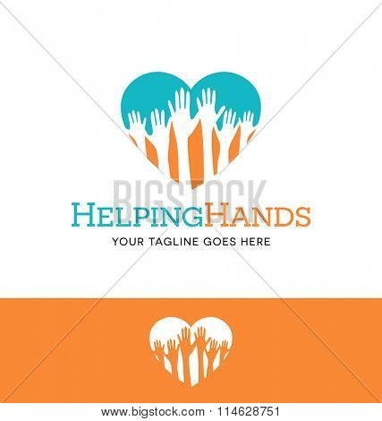 Logo design for charitable or health business or website. hands reaching up in heart shape.
