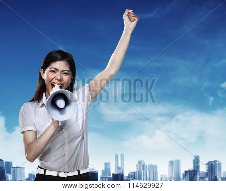 Business Woman Using Megaphone