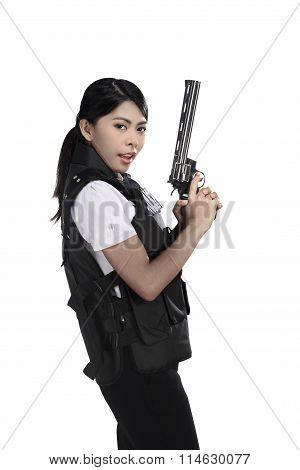 Police Woman Hold Revolver Gun