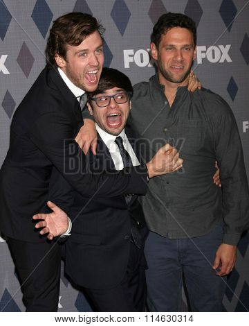 LOS ANGELES - JAN 15:  Jack Cutmore-Scott, Charlie Saxon, Justin Bartha at the FOX Winter TCA 2016 All-Star Party at the Langham Huntington Hotel on January 15, 2016 in Pasadena, CA