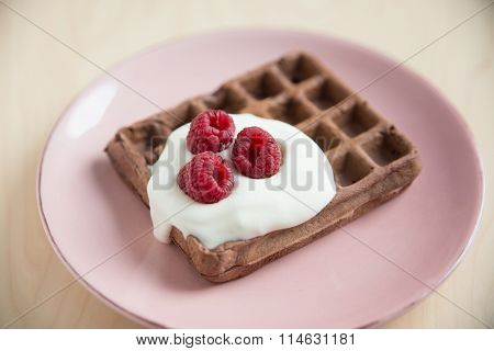Chocolate Waffle with fresh berries