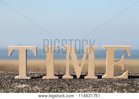 word time made with wooden block