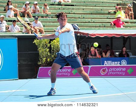 Nicolas Almagro of Spain winding upd for a forehand
