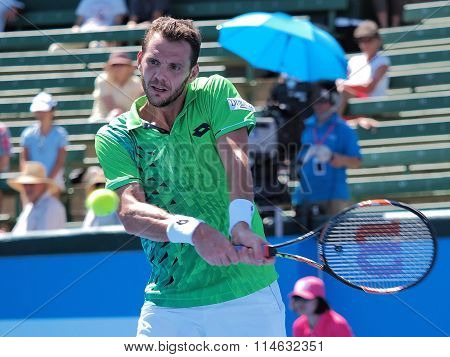 Paul-Henri Mathieu of France at an Exhibition hist a backhand
