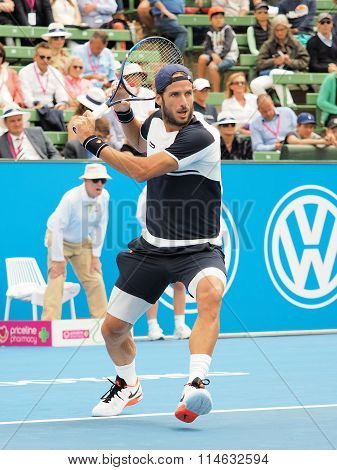 Feliciano Lopez of Spain at an Exhibition and practice match at Kooyong