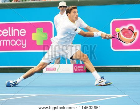 Pablo Carreno Busta of Spain stretch backhand