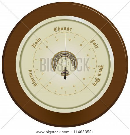 Barometer On Dark Wood