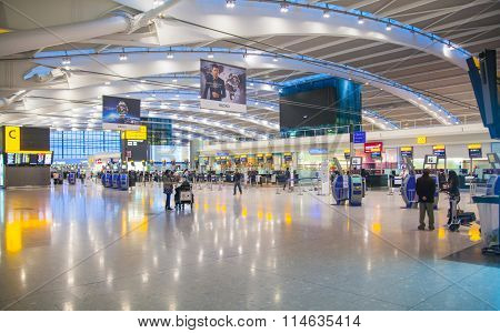 LONDON, Interior of departure hall Heathrow airport Terminal 5. New building