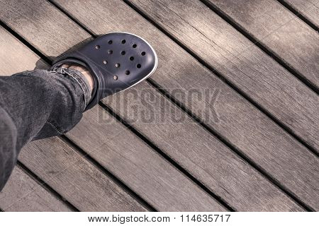 Legs To Walk On The Old Wooden Walkway