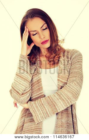 Casual depressed woman.