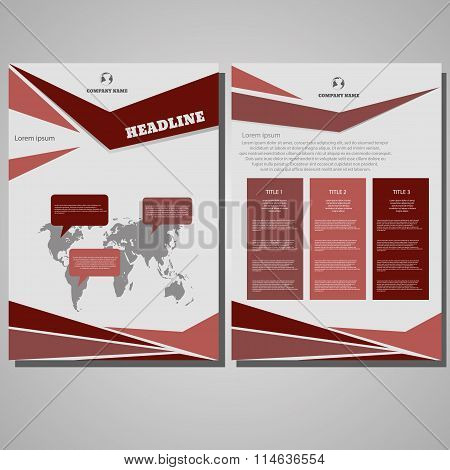 Brochure Design Layout Template, Size A4, Front Page And Back Page Design Eps 10