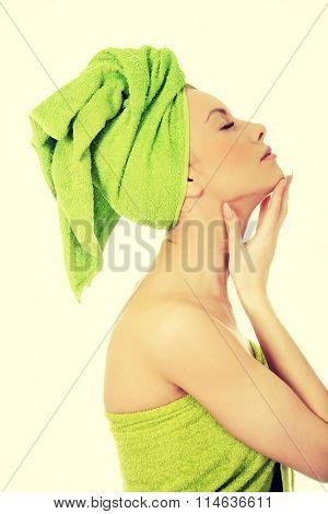 Sensual woman with turban towel.