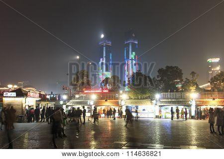 Nanchang, China - January 3, 2016: Night Life In Nanchang With Many Tourists Visiting The Food Stall