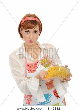 Beautiful Cooking Woman In Apron With Italian Pasta Macaroni. Isolated On White Background