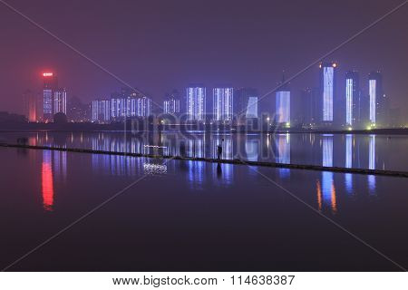 Nanchang, China - January 3, 2016: Nanchang Skyline At Night As Seen From The East Side Of The City.