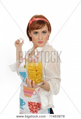 Beautiful Cooking Woman In Apron With Italian Pasta. Isolated On White Background