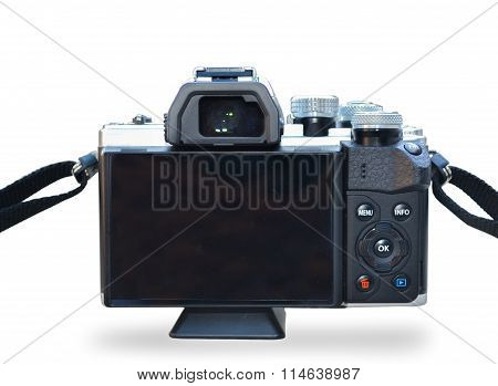 Isolated Back Side Of Digital Camera With Wite Background